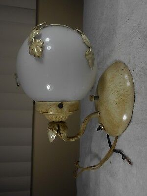 Vtg Floral Tole Ware Shabby Lamp Flowers Hanging Light Toleware Wall Mount (5)