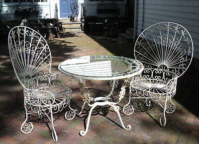 Antique Vintage Wrought Iron Ornate French Bistro Table U0026 2 Chairs