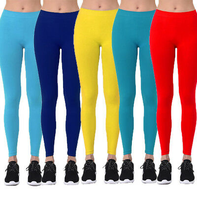 c853d308ace32 Womens Nylon Solid Basic Leggings Stretch Pants Long Full Length Opaque  Ankle