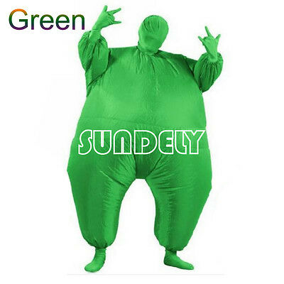 Green Inflatable Fat Chub Suit Fancy Dress Party Adult Costume Cosplay Jumpsuit