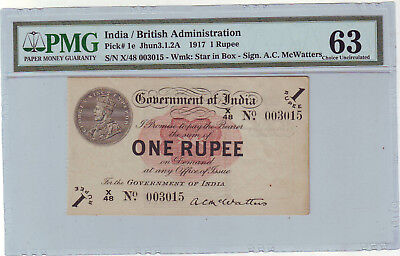 British India KG V  Re 1 unc ,McWatters , 1917 . pmg 63 .