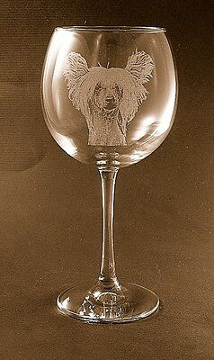 New Etched Chinese Crested on Large Elegant Wine Glasses