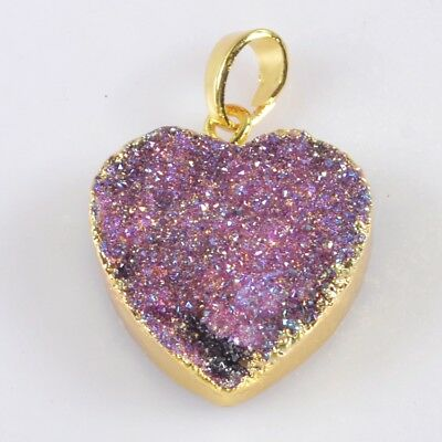 Heart Hot Pink Agate Titanium Druzy Pendant Bead Gold Plated T042571