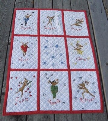 RARE Pottery Barn Kids REINDEER QUILT Crib Cotton Christmas Discontinued blanket