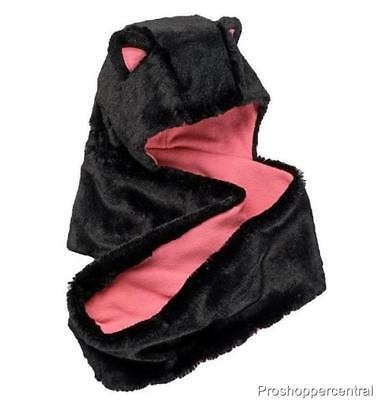 NEW Girls SO Faux-Fur Black & Pink Cat Fleece-Lined Hooded Infinity Scarf OSFA