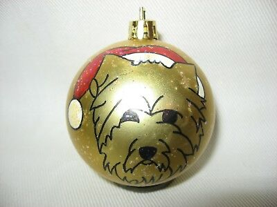 New Handpainted Cairn Terrier Santa Claus Unbreakable Christmas Ornament