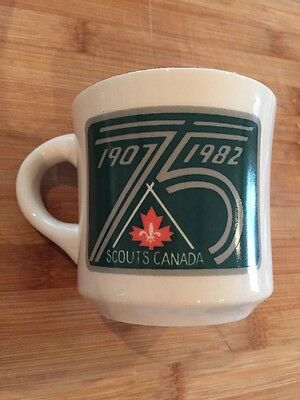 Scouts Canada 75 Years Mug 1907-1982 Gilwell Reunion Blue Springs, Nice Gold Rim