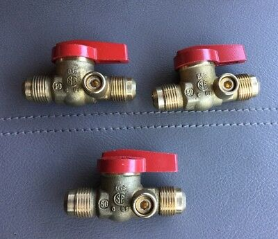 "Qty (3) 1/2"" IPS Brass Gas Ball Valves - Natural Gas / Propane, Shut-Off Valve"