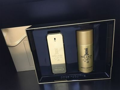 Paco Rabanne 1 MILLION 2017 Set 100ml Eau De Toilette EDT & 150ml Deodorant Spra