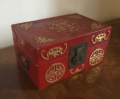Antique Chinese Red Lacquer Box with Gilt Highlights Jewelry Letter Desk