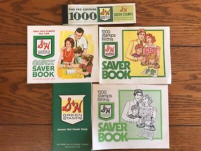 S&H Green Stamps Books (4) different and one Pad Of 1000 Trading Stamps Unused