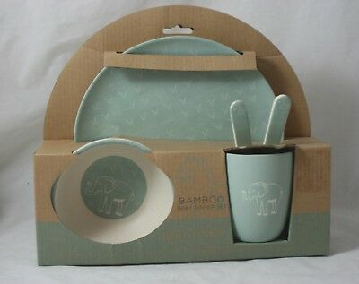 Peacock Alley Bamboo Baby Dinner Set 5 Pc. Soft Aqua Elephant New