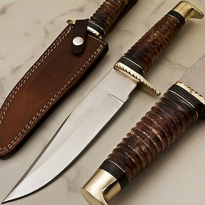 BEAUTIFUL HAND MADE FORGED STAINLESS STEEL HUNTING KNIFE Bone Handle, SHEATH