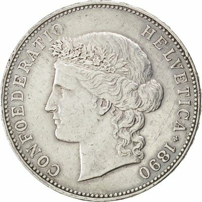 [#82907] SWITZERLAND, 5 Francs, 1890, Bern, KM #34, EF(40-45), Silver, 37, 24.95