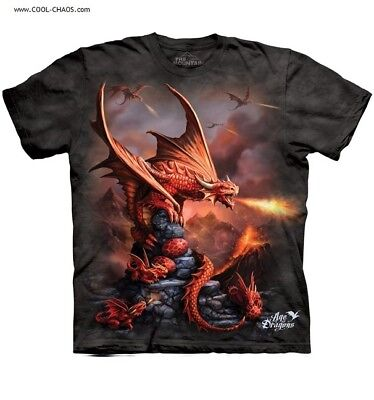 Fire Dragon T-Shirt / Anne Stokes, Age of Dragons,Red Dragons,Sci-Fi,Tie Dye Tee