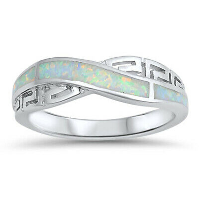 Infinity Knot Greek Key White Lab Opal Ring .925 Sterling Silver Band Sizes 5-10