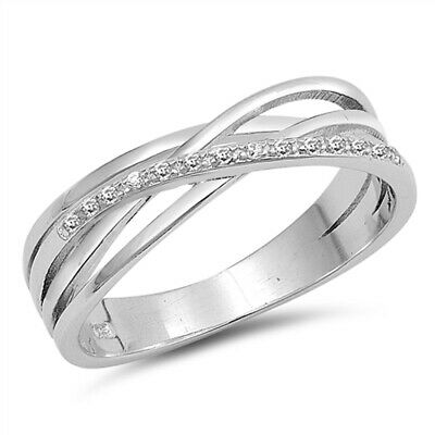 White CZ Criss Cross Knot Weave Ring New .925 Sterling Silver Band Sizes 4-10