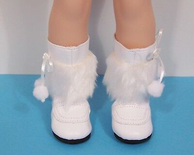 """WHITE Snow Boots Doll Shoes For 14"""" American Girl Wellie Wisher Wishers (Debs)"""