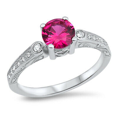 Round Ruby CZ Solitaire Vintage Ring New .925 Sterling Silver Band Sizes 4-9