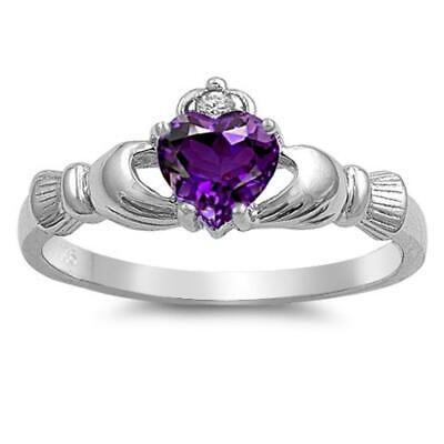 Infinity Best Friends Heart Ring .925 Sterling Silver Friendship Band Sizes 5-12