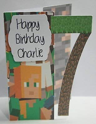 Handmade birthday card Minecraft  personalised *FREE POST*