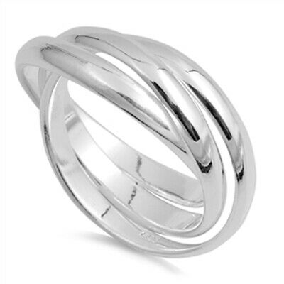 Triple 3mm Rolling Wedding Ring New .925 Sterling Silver Stacked Band Sizes 4-13