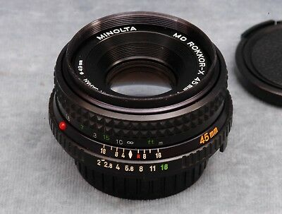 "Minolta Md (Mf) ""pancake"" 45Mm F2.0 Lens W/caps (#2) - Free Usa Shipping"