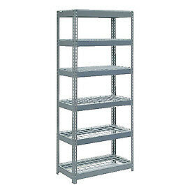 """Extra Heavy Duty Shelving 36""""W x 12""""D x 96""""H With 6 Shelves, Wire Deck"""