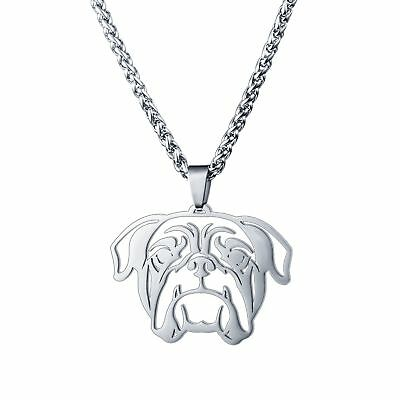 Stainless Steel American English Bull Bulldog Pet Dog Tag Charm Pendant Necklace