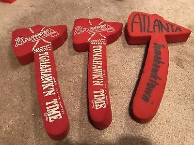 ATLANTA BRAVES FOAM TOMAHAWK - vintage lot of 3