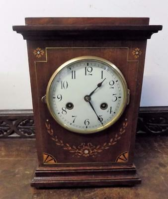 gustav becker mahogany inlaid striking bracket clock c1900s