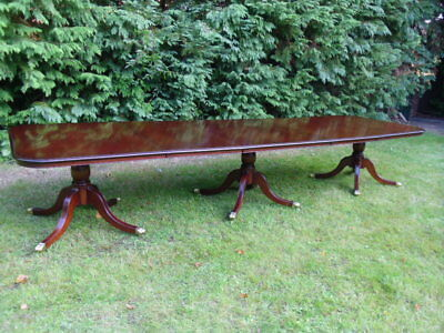 HUGE HARRODS 13ft EXTENDING SOLID MAHOGANY DINING TABLE / ANTIQUE STYLE
