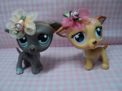 Discontinued Rare Authentic LPS Lot of 2 Gray Danes With Handmade Flowers