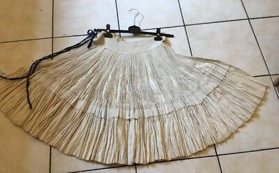 Vtg Chinese Miao Hmong Tribal Ethnic Folk Costume Handmade Hemp Skirt Underskirt