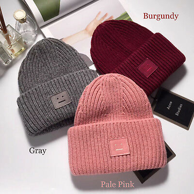 NWT ACNE Studios Pansy Ribbed Face Wool Beanie Hat Unisex Christmas Gift 8 Color