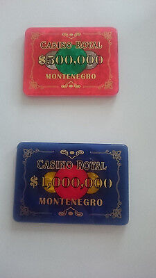 CASINO ROYALE 007 Poker Plaque $1,000,000 & $500.000 set - as seen in the movie