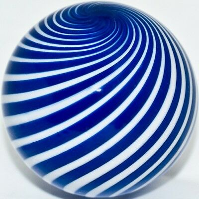 """2 1/4"""" Marble GEOFFREY BEETEM = 5,7 cm -  BLUE CLAMBROTH MARBLE - w/stand - 2011"""