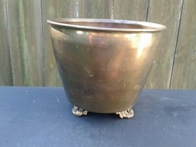 """Vintage Small Round Solid Brass Footed Planter  Pot  """"India"""""""