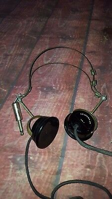 Antique Vintage Old S G Brown Type F Headphones 1920's Radio Crystal Bakelite
