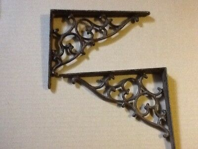 2 Leaf & Vine Shelf Brace Shelf Bracket Corbel Cast Iron Rustic  FREE SHIPPING