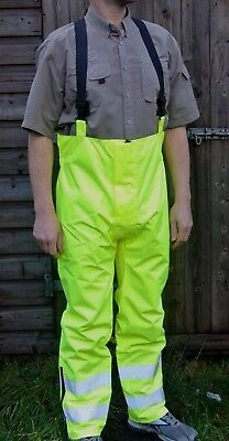 Yellow Hi Viz Waterproof Salapettes Rain Trouser Elasticated Shoulder Strapes