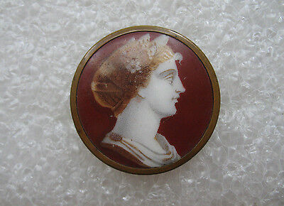 """Early 1800's Brass Enamel Button Large Image Of Greek Goddess """"Rare"""""""