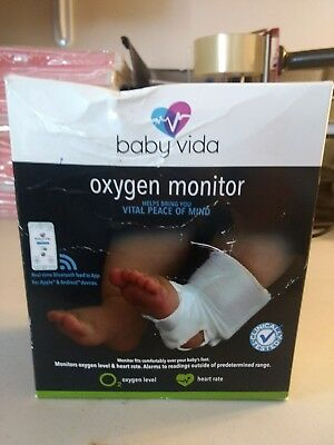 Baby Vida Oxygen Level Heart Rate Monitor 0-12 Months Bluetooth New Alarm White