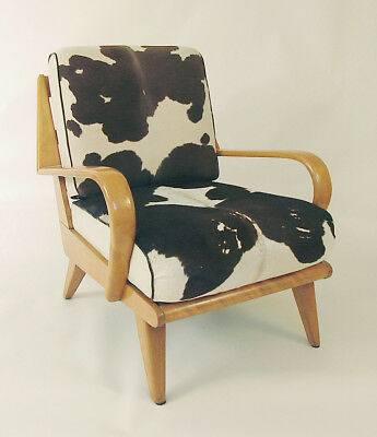 A Large, Refinished Heywood Wakefield Armchair with Cowhide Cushions (Calf)