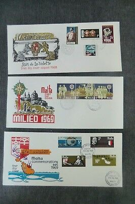 3  Fdc Malta  1968-69 First Day Covers