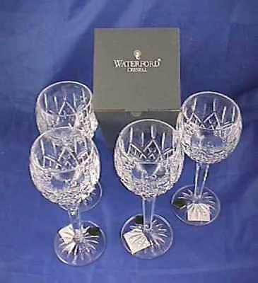 4 Waterford Lismore Crystal  Balloon Wine Hock Glasses NIB 6oz.  No.6003180800