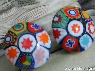 """Beautiful Vintage 30/40's Colourful Milefiori Glass """"italy"""" Button Clip Earrings"""