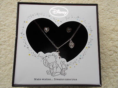 Disney Winnie the Pooh Necklace & Earrings Set