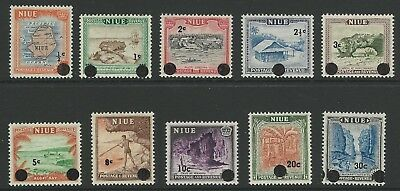 NIUE 1967 - Decimal Currency Surcharge (full set, 10 values) - SG 125-134, MNH