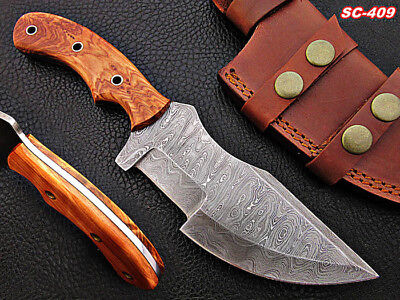 Handmade Full Tang Damascus steel Tracker Knife and Olive-wood Handle